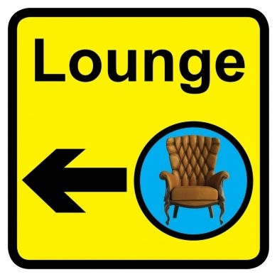 Lounge sign with left arrow - 300mm x 300mm