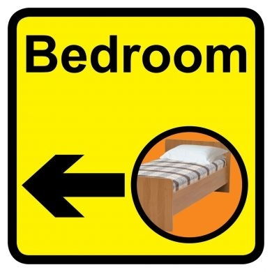 Bedroom sign with left arrow 300mm x 300mm