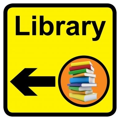 Library sign with left arrow - 300mm x 300mm