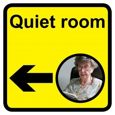 Quiet Room sign with left arrow - 300mm x 300mm