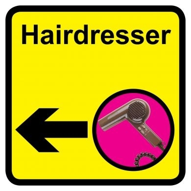 Hairdresser sign with left arrow - 300mm x 300mm
