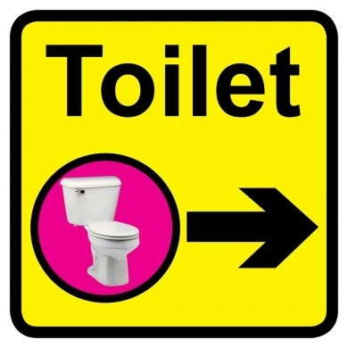 Toilet Sign With Right Arrow 300mm X 300mm Directional