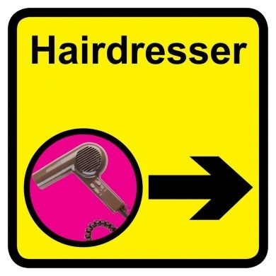 Hairdresser sign with right arrow - 300mm x 300mm