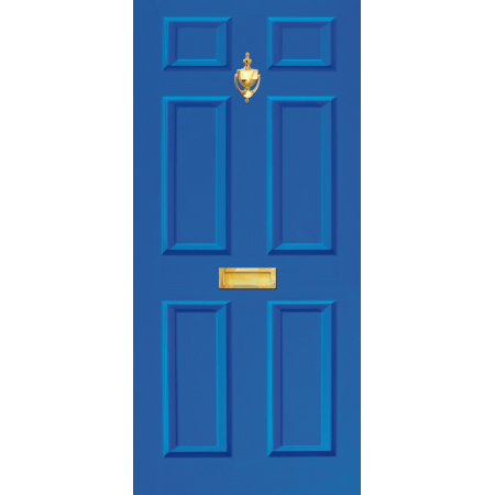 Door Decal Dementia Friendly with Letterbox and Knocker - Blue