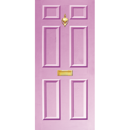 Door Decal Dementis Friendly with Letterbox and Knocker - Lilac