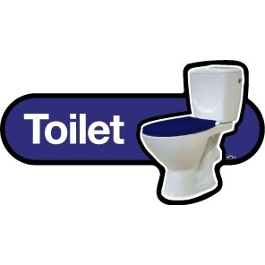 Toilet Sign self adhesive/300mm - Red or Blue
