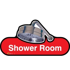 Shower Room Sign - Self adhesive/300mm - Different colours available