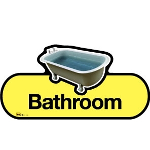Bathroom sign - 480mm - Yellow