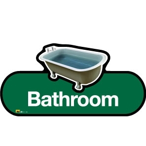 Bathroom sign - 480mm - Green