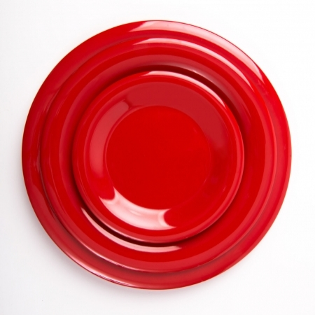 6 Wide Rim Plates - Red - 270mm