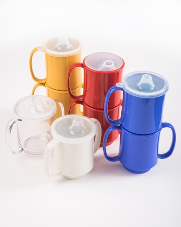 6 Single handled mugs - Red