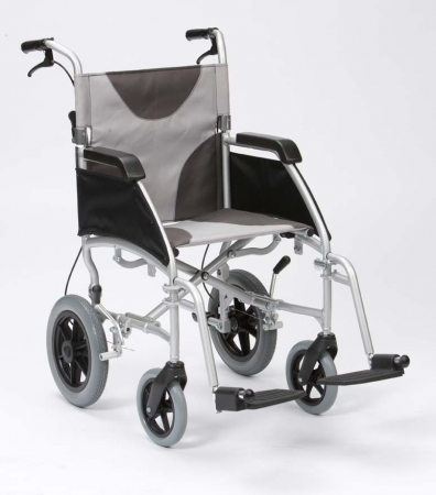 Lightweight Aluminium Wheelchair Grey/Black Canvas Transit