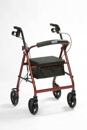 Lightweight Rollator With Bag - Red