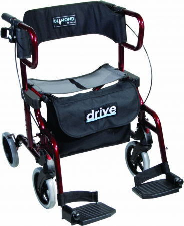 Diamond Deluxe Transport Chair/Rollator With Leg Rests (Red)