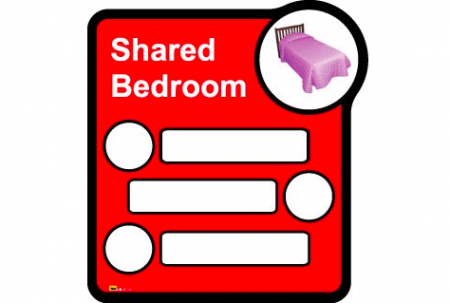 Bedroom sign (interchangeable) – 3 beds sharing - Different colours available