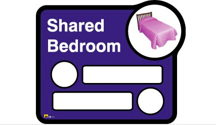 Bedroom sign (interchangeable) – 2 beds sharing - Blue