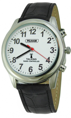 Talking Radio Controlled Watch with Black Strap: Large