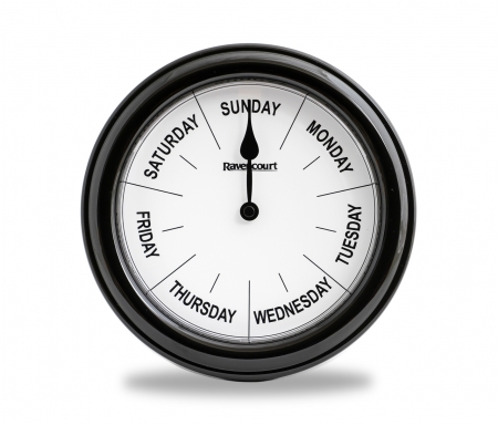 Dementia Day of the Week Clock - Red or Black