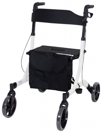 Deluxe Ultra Lightweight Folding 4 Wheeled Rollator - White