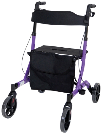 Deluxe Ultra Lightweight Folding 4 Wheeled Rollator - Purple