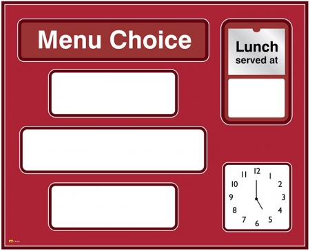 Dry-wipe Menu Board with Clock – Red