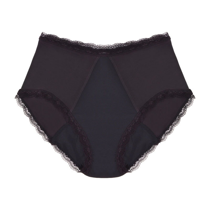 Eco friendly, washable, moderate absorbency underwear. Full brief style in black.