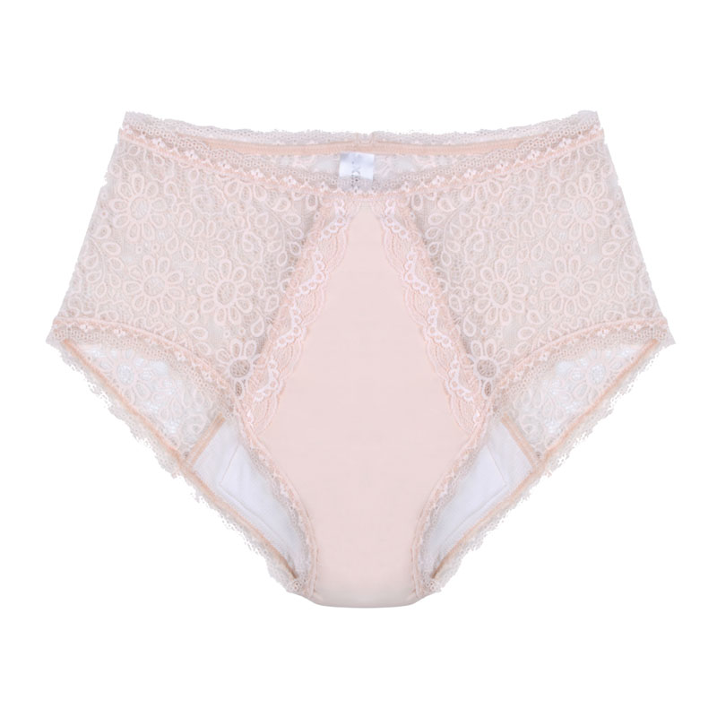 Eco friendly, washable, moderate absorbency, lace underwear. Full brief style in beige.