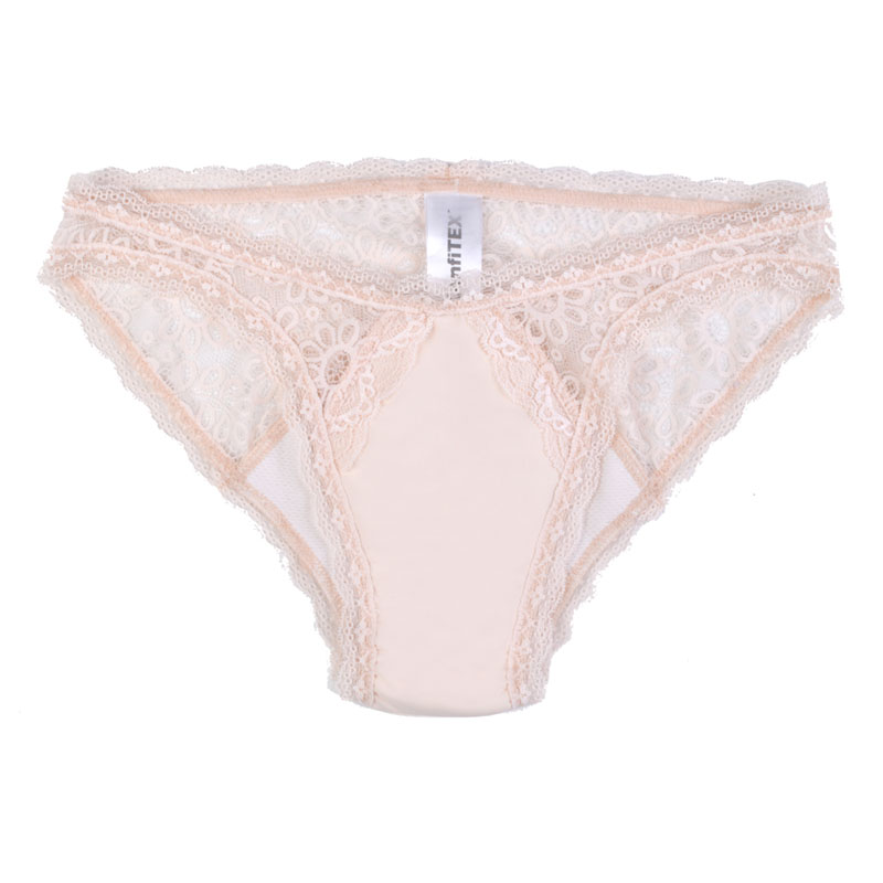 Moderate absorbency, lace underwear, Hipster style, beige. Different sizes available