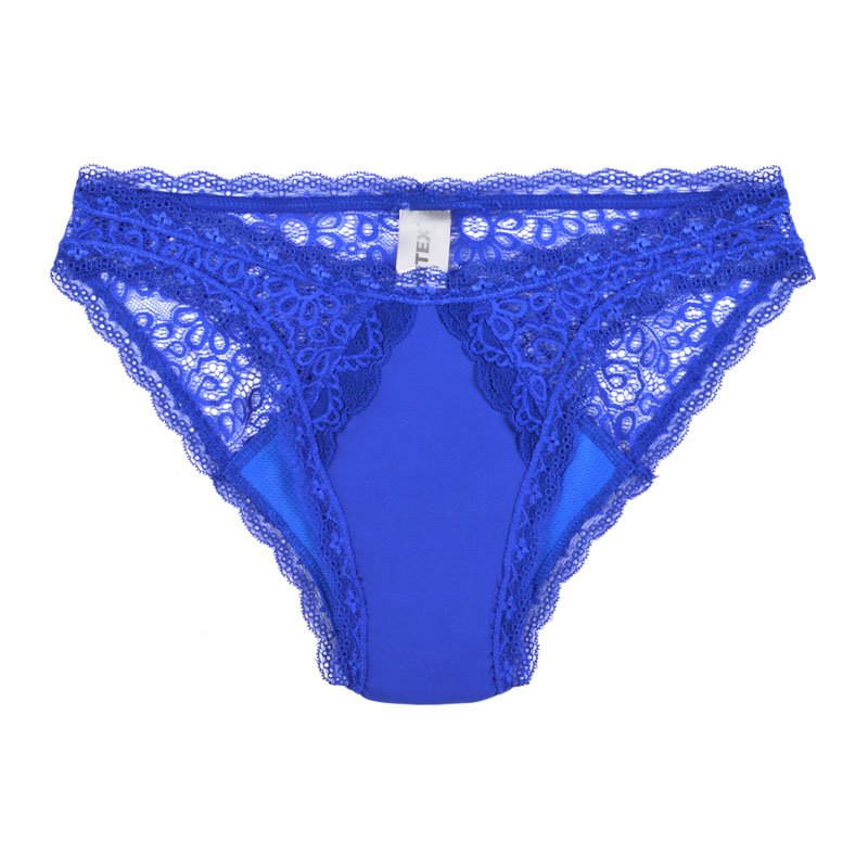 Moderate absorbency, lace underwear, Hipster style, blue. Different sizes available