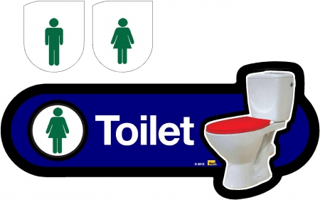 Interchangeable Toilet Sign - 480mm - Blue