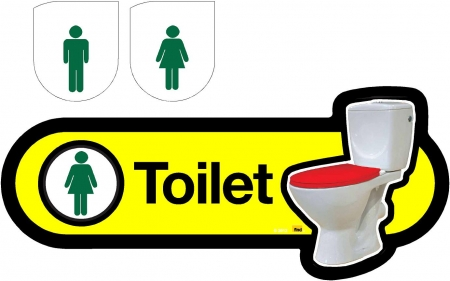 Interchangeable Toilet Sign - 480mm - Yellow