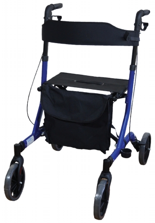 Deluxe Ultra Lightweight Folding 4 Wheeled Rollator - blue