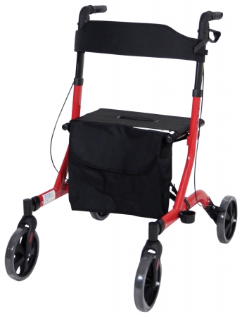 Deluxe Ultra Lightweight Folding 4 Wheeled Rollator - red