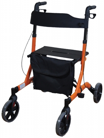 Deluxe Ultra Lightweight Folding 4 Wheeled Rollator - orange