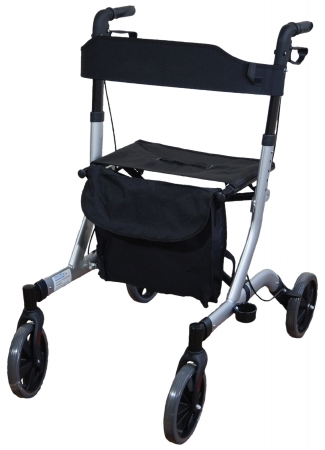 Deluxe Ultra Lightweight Folding 4 Wheeled Rollator - grey