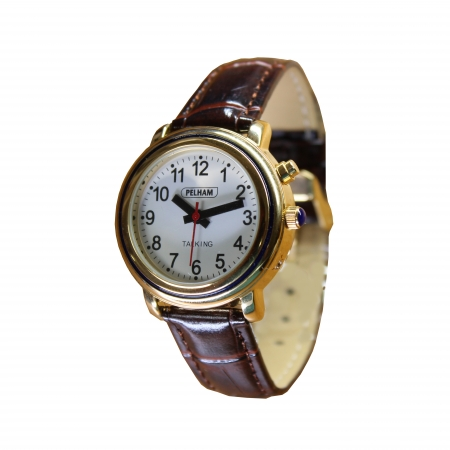 Talking Gold Watch with brown strap - Small