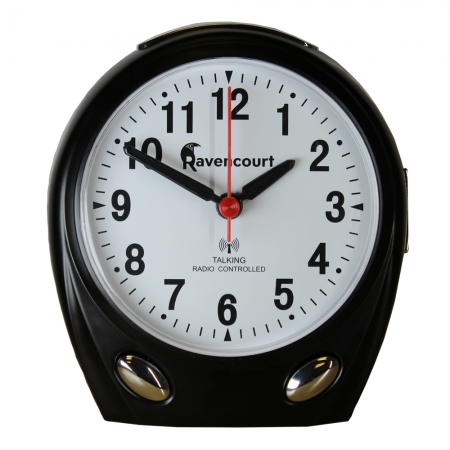 Talking Radio Controlled Alarm Clock Silver - Different colours available