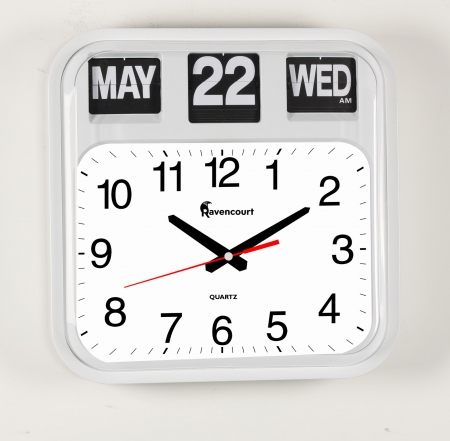 Large Dementia Friendly Calendar Flip Wall Clock