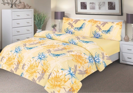 Waterproof Bedding - Double Duvet Set - 100% Waterproof - Yellow Waterlily