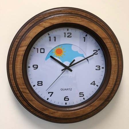 Wood Surround Dementia Day and Night Clock