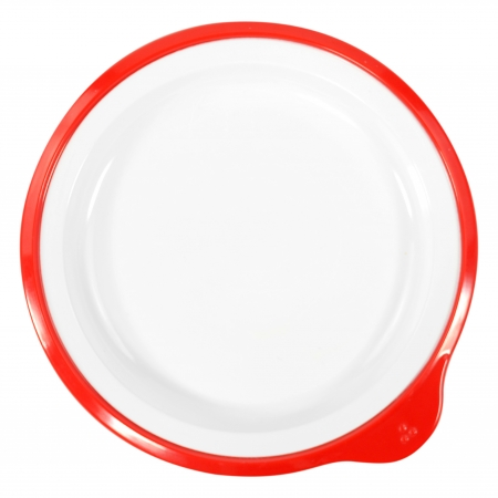 Dalebrook Omni Small Low Plate in White - Red Rim - 180x170x20mm - Set of 12
