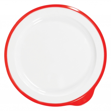 Dalebrook Omni Large Low Plate in White - Red Rim - 240x230x20mm - Set of 12