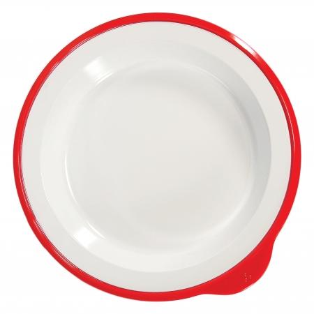 Dalebrook Omni Large Deep Plate in White - Red Rim - 240x230x35mm - Set of 12