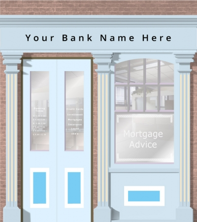 High Street Bank Personalised Wallpaper Mural. Different sizes and colours available