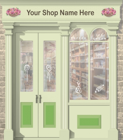 Sweet Shop or Newsagent Personalised Wallpaper Mural. Different sizes and colours available