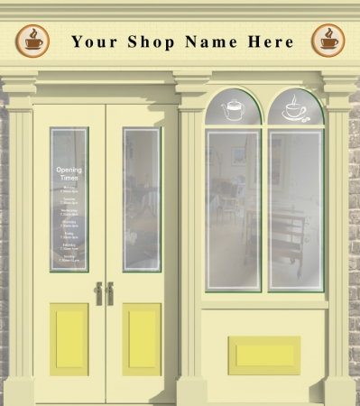 Café or Tea Shop Personalised Wallpaper Mural. Different sizes and colours available