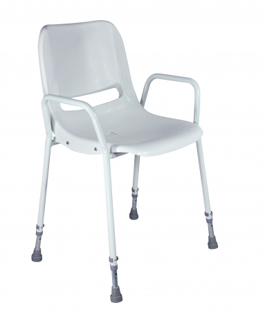 Milton Stackable Portable Shower Chair - Adjustable Height - White