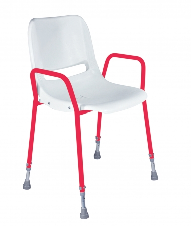 Milton Stackable Portable Shower Chair - Adjustable - Red and White