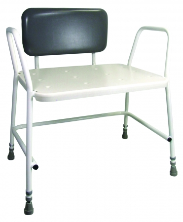 Portland Bariatric Height Adjustable Shower Stool - With Padded Back Support