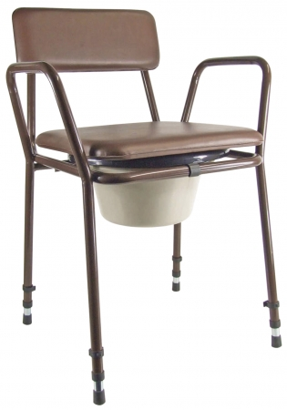 Essex Height Adjustable Commode Chair - Brown